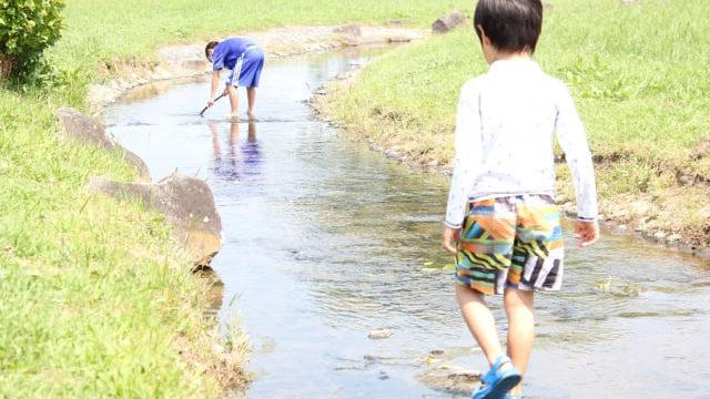ラッシュガードを着て川遊び